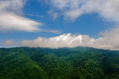 Tops of the mountains in the clouds Royalty Free Stock Photography