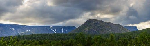 The tops of the Mountains, Khibiny  and cloudy sky. Kola Peninsu. La, Russia Royalty Free Stock Photo