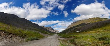 The tops of the Mountains, Khibiny  and cloudy sky. Kola Peninsu. La, Russia Stock Photos