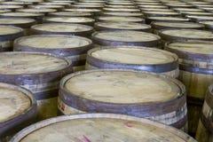 Tops of oak barrels in bourbon distillery Royalty Free Stock Photography