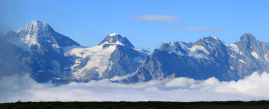 Tops of the snowy mountains of Switzerland Royalty Free Stock Photos