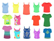 Tops and t-shirts. Set of female summer tops and t-shirts Stock Image