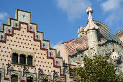 The tops of two famous houses in Barcelona. The tops of two famous houses in a modernism style in Barcelona on Gracia boulevard. On the left is casa Amatller by Royalty Free Stock Photos