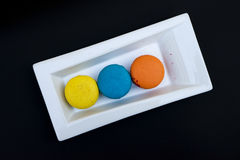 Topshot of sweet and colourful french macaroons Royalty Free Stock Photos