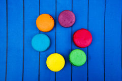 Topshot of sweet and colourful french macaroons Royalty Free Stock Photo