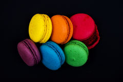 Topshot of sweet and colourful french macaroons Stock Images