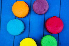 Topshot of sweet and colourful french macaroons Stock Image