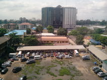 Topside highrise. An over view from a high-rise buildings in Bishop-another-Cole, Vitoria island of Lagos, Nigeria. Taken in the middle of work time Stock Images
