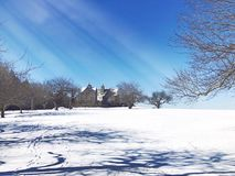 Topsmead state forest house winter view Royalty Free Stock Photo
