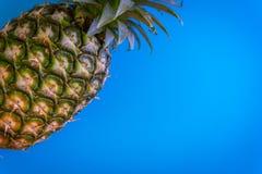 Topview av ananas med skrivbordet på plattor slösar bakgrund överkant Arkivfoton