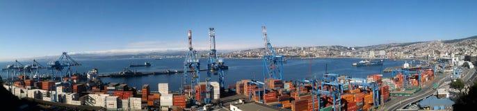 Topview av Valparaiso port, Chile Arkivbild