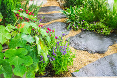 Topview black stone pathway. Topview black stone pathway and flower in cozy garden Stock Images