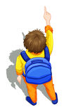 A topview of a boy with a blue backpack Royalty Free Stock Photos