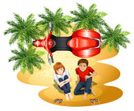 A topview of a boy and a girl near the motorcycle Stock Photography