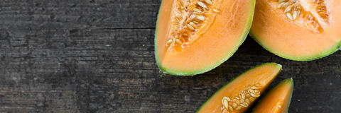 Topview of cantaloupe melons Royalty Free Stock Photos