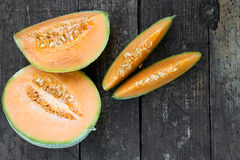 Topview of cantaloupe melons Royalty Free Stock Image
