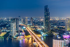 Topview of Chaopraya River , Bangkok, Thailand. Topview of Colorful Building Along Chaopraya River, Bangkok  Thailand Royalty Free Stock Photos