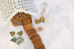 Topview on christmas cookie house royalty free stock photos