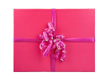 Topview d'isolement par boîte-cadeau rose images stock