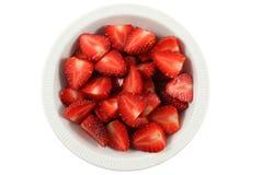 Topview de fraise dans le coup blanc Photographie stock libre de droits