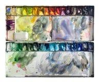 Topview de plateau d'aquarelle Photo libre de droits