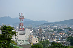Topview der Isahaya Stadt mit Antenne Stockfotos