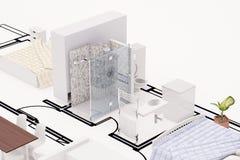Topview des Bauplanes Stockfoto