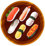 A topview of the different flavors of sushi Stock Image