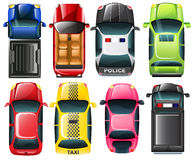 Topview of the different type of vehicles Royalty Free Stock Photography