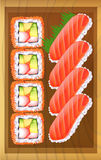 A topview of the different variants of sushi at the table Royalty Free Stock Photography