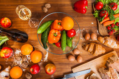 Topview of Fruits and vegetables on wooden kitchen table Stock Photo