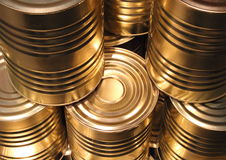 Topview of golden metal cans with line cut perspective Royalty Free Stock Photo