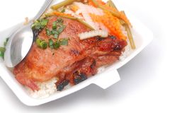 Topview on grilling chop pork rice. Closeup with special roasting pork rice on vietnamese food Stock Images