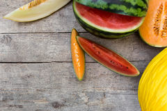 Topview on lot of melons Stock Photos