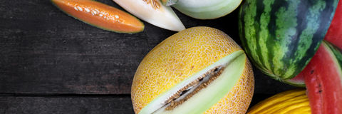 Topview on a lot of melons Stock Image