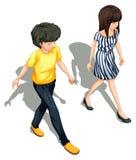 Topview ludzie chodzić ilustracji
