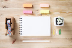 Free Topview Of Office Stuff On Wooden Working Table. Stock Images - 77031844