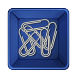 A topview of the paperclips inside a container Stock Photography