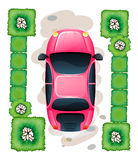 A topview of the parked pink car Royalty Free Stock Images