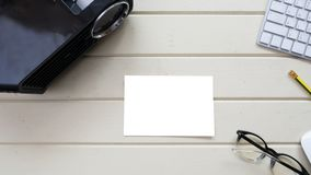 Topview Projector and white card with keyboard royalty free stock images
