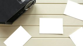 Topview Projector and white card with keyboard. Topview Projector and white card with picture copy space stock images