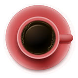A topview of a red cup with coffee Stock Photos