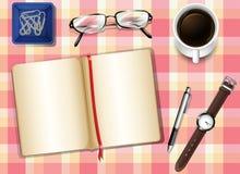 Topview stół z rzeczami royalty ilustracja