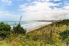 Topview sur la plage de Ngarunui près de raglan, Waikato Photographie stock