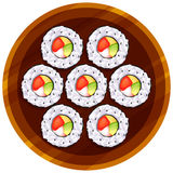 A topview of the sushi at the table Royalty Free Stock Image