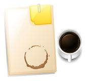 A topview of a table with a coffee stain Royalty Free Stock Image