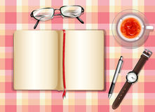 A topview of a table with different objects Royalty Free Stock Photos
