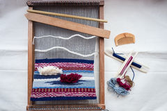 Topview of tools and thread for weaving, hand loom Stock Images