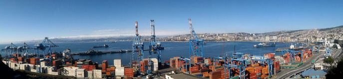 Topview of Valparaiso Port, Chile Stock Photography