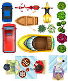 Topview of vehicles, plants and people at the table Stock Images